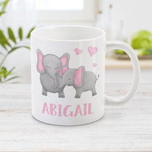 Load image into Gallery viewer, Personalized Watercolor Mommy and Baby Elephants Mug at Amy's Coffee Mugs
