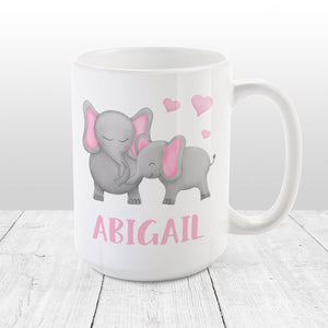 Personalized Watercolor Mommy and Baby Elephants Mug at Amy's Coffee Mugs