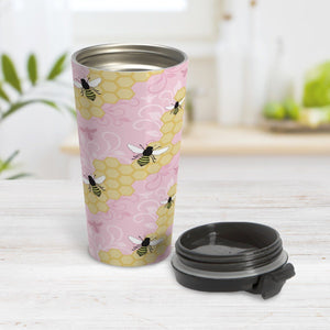 Pink Honeycomb Bee Travel Mug at Amy's Coffee Mugs