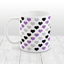 Load image into Gallery viewer, Purple Black Gray Hearts Pattern Mug at Amy's Coffee Mugs