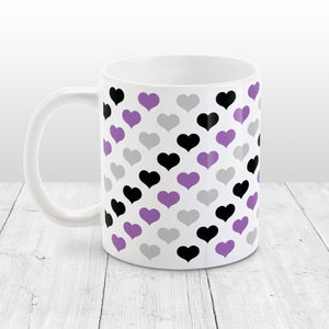 Purple Black Gray Hearts Pattern Mug at Amy's Coffee Mugs