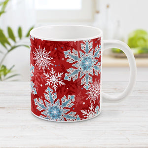 Red Blue Snowflake Pattern Winter Mug at Amy's Coffee Mugs