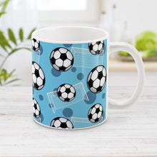 Load image into Gallery viewer, Soccer Ball and Goal Pattern Blue Mug at Amy's Coffee Mugs