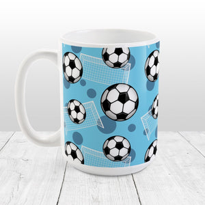 Soccer Ball and Goal Pattern Blue Mug at Amy's Coffee Mugs