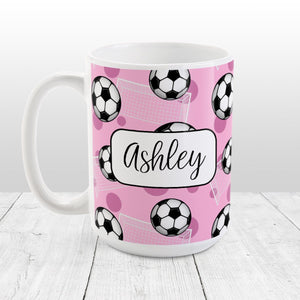 Soccer Ball and Goal Personalized Pink Soccer Mug at Amy's Coffee Mugs