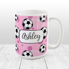 Load image into Gallery viewer, Soccer Ball and Goal Personalized Pink Soccer Mug at Amy's Coffee Mugs