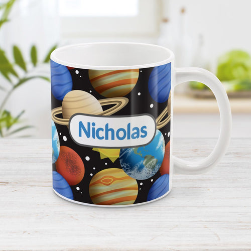Space Planets Pattern - Personalized Space Mug at Amy's Coffee Mugs