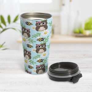 Spring Owl Bee Daisy Pattern Travel Mug at Amy's Coffee Mugs