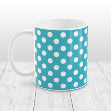 Load image into Gallery viewer, Turquoise Polka Dot Pattern Mug at Amy's Coffee Mugs