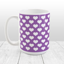 Load image into Gallery viewer, White Hearts Pattern Purple Mug at Amy's Coffee Mugs