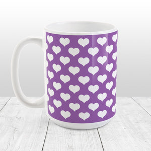 White Hearts Pattern Purple Mug at Amy's Coffee Mugs