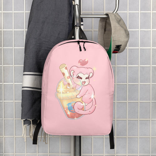 Monkey Bubble | Pink Bubble Tea Minimalist Backpack