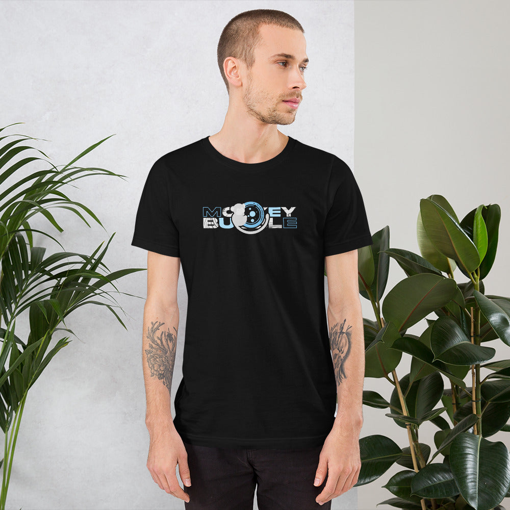 Monkey Bubble Logo Blue on Black T-Shirt