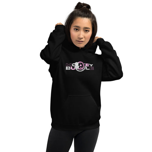 Monkey Bubble Logo Pink on Black Hoodie