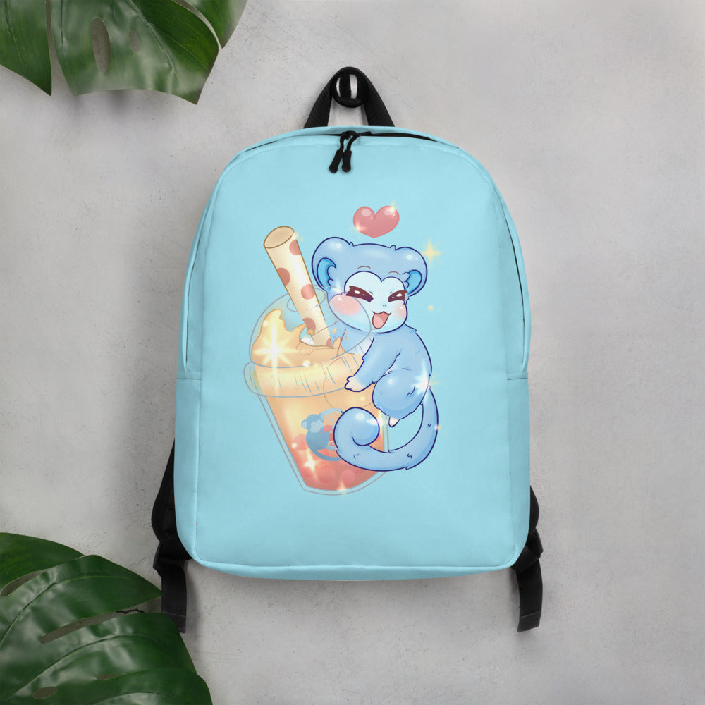 Monkey Bubble | Light Blue Bubble Tea Minimalist Backpack