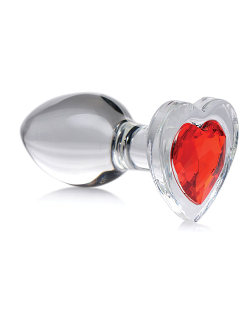 Red Heart Gem Glass Anal Plug