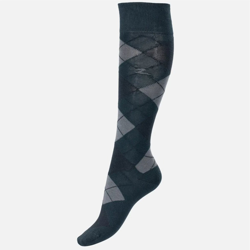 Horze - Alana Checked Summer Socks - Blue/Grey