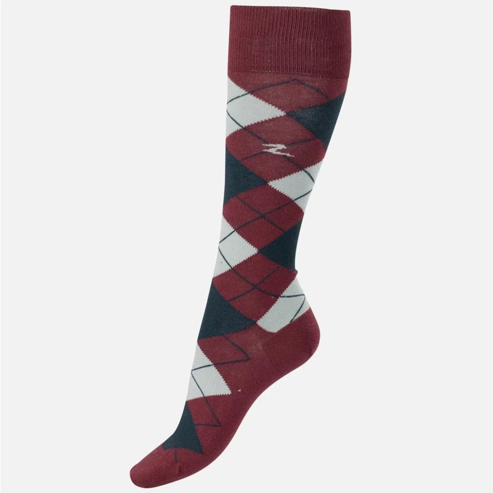 Horze - Alana Checked Summer Socks - Rum/Grey