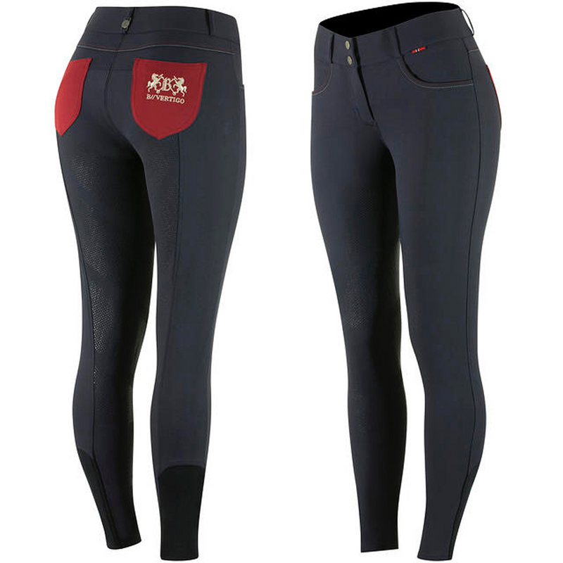 B Vertigo - Kimberley Women's Full Seat Breeches - Navy/Red