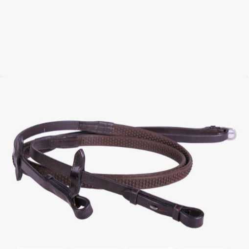QHP - Rubber Soft Reins - Brown