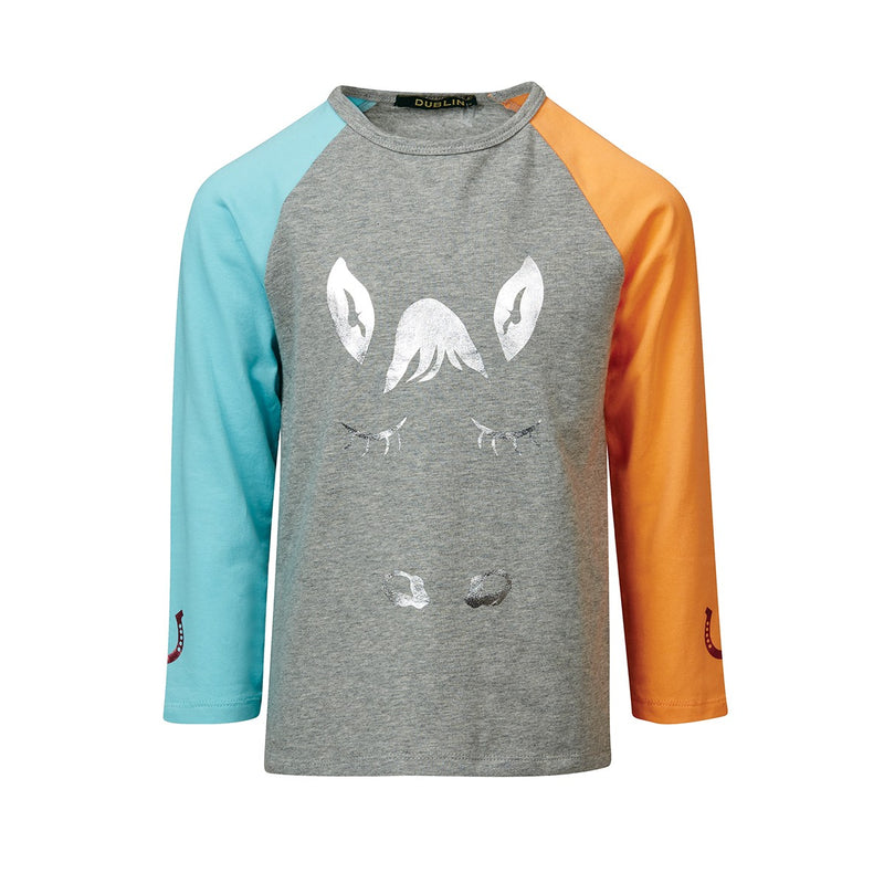 Nelly Raglan Children's 3/4 Tee - Grey Melange