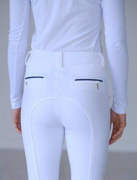 Alyssa White High Waisted Breeches with Navy Trim