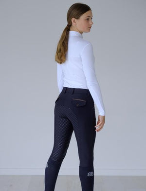 Beyond The Bit - Aria Navy Breeches with Brown Trim