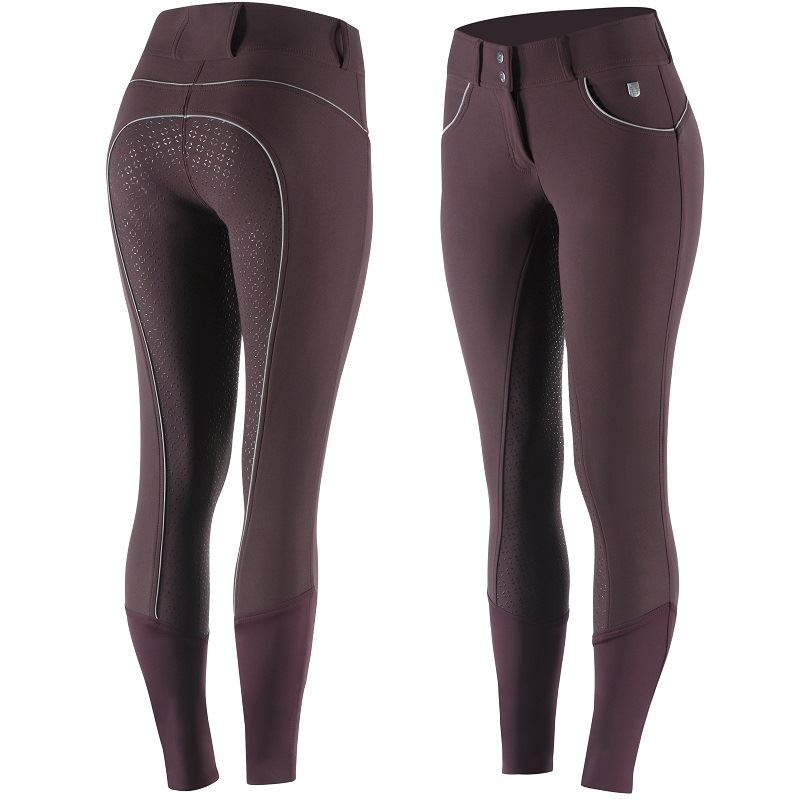 Horze - Lucia Women's Silicone Full Seat Breeches - Port Royale/Dark Red