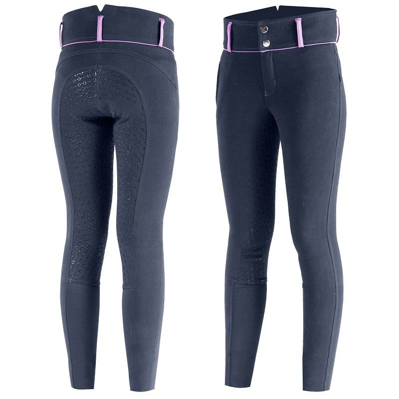 Horze - Daniela Junior Silicone Full Seat Breeches - Navy/Lilac