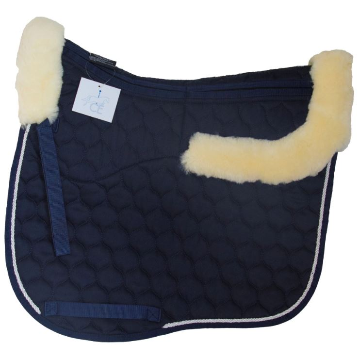 Full Rolled Edge Lambskin Dressage Square - Navy