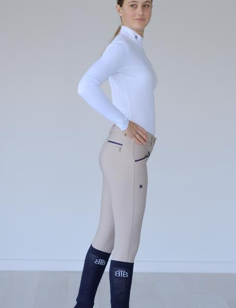 Portia High Waisted Beige Breeches with Navy Trim