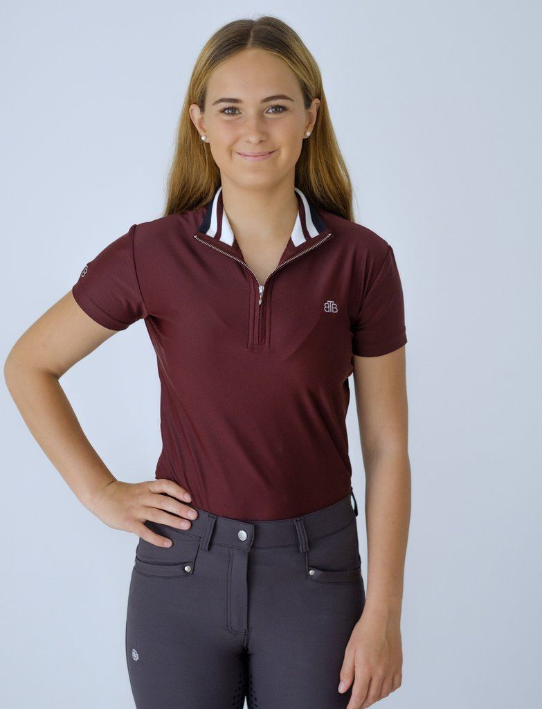 Ribbed Collar Short Sleeve Training Top - Burgundy