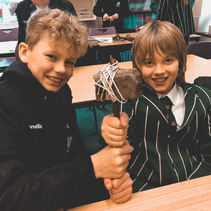 Year 6 are inspired in studies of their English text 'Wolf Brother' by creating Stone Age tools