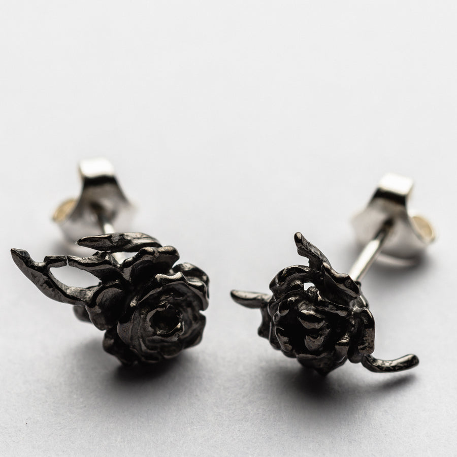 JRDR13 Dark Rose Small Wild Rose asymmetrical earring studs in various colourways