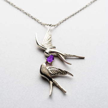 JRDR 3 Dark Rose Twin Swallows Necklace