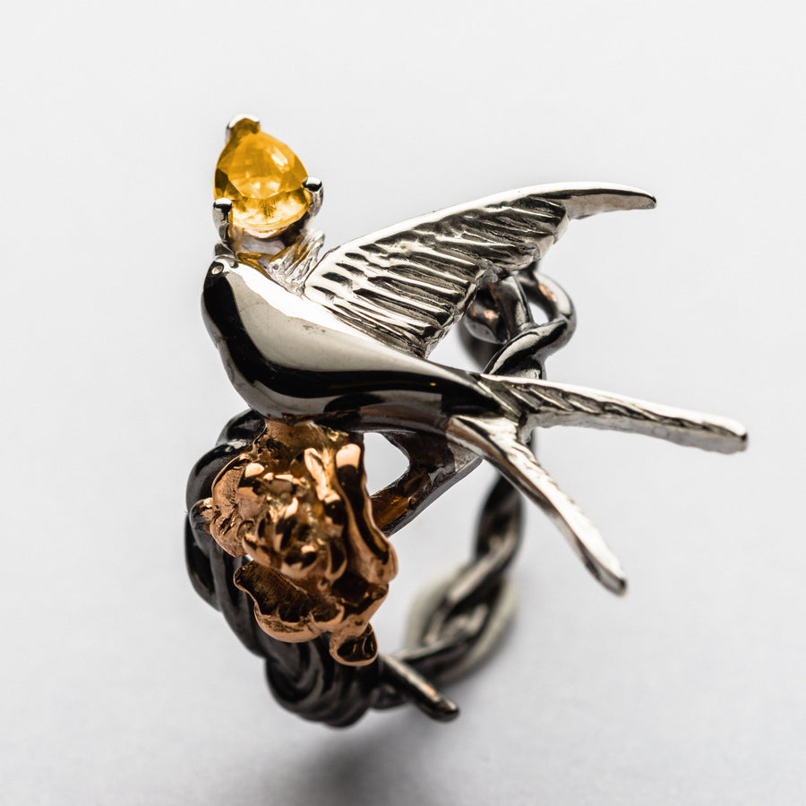 JRDR 7 Dark Rose Fledgling Swallow and Rose Precious Stone Ring