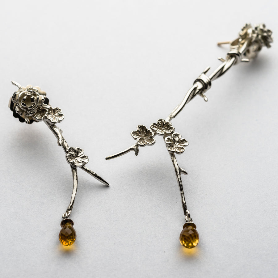 JRRR12 Renaissance Rose Single Rose earring studs with removable cherry blossom drops