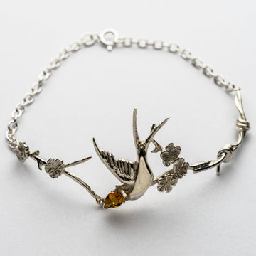 JRRR17 Renaissance Rose Twisted Barbed Wire with Fledgling Swallow & Cherry Blossoms Bracelet