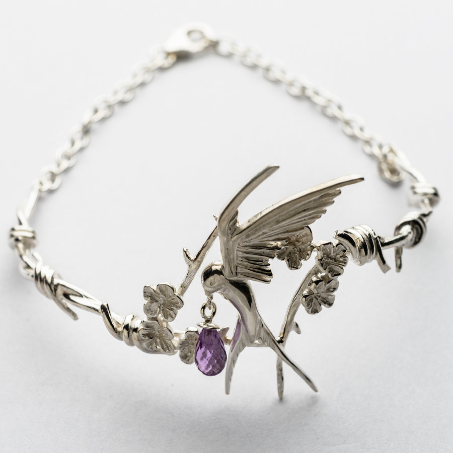 JRRR18 Renaissance Rose Twisted Barbed Wire with Fledgling Swallow & Cherry Blossoms Bracelet