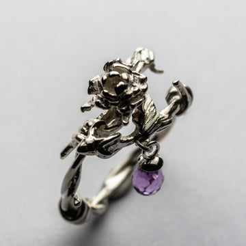 JRRR 9 Renaissance Rose small bouquet of roses barbed wire ring and briolette gemstone