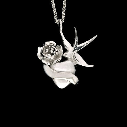 JRSW 07 Classic Twin Swallow With Rose & Scroll Heart Pendant Necklace