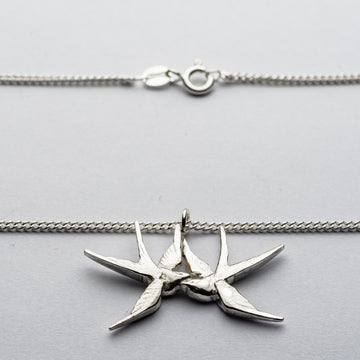 JRSW 04 Classic Small Twin Swallow Necklace