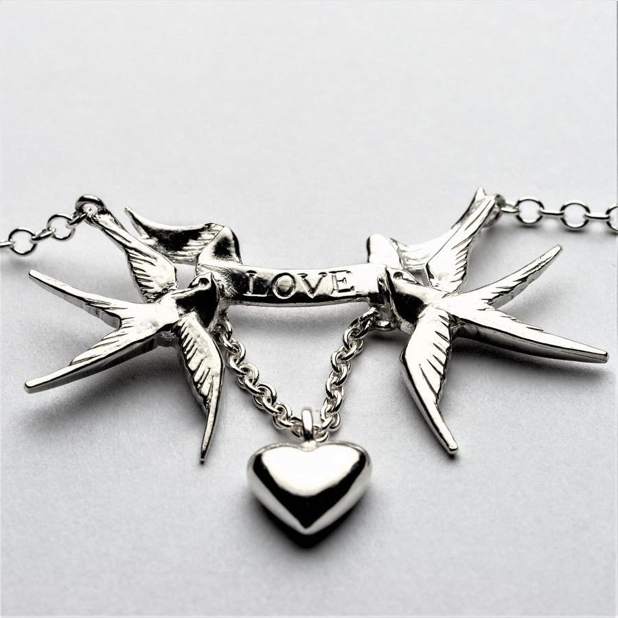 JRSW 08 Classic Small Twin Swallow, Love Scroll & Heart Pendant Necklace