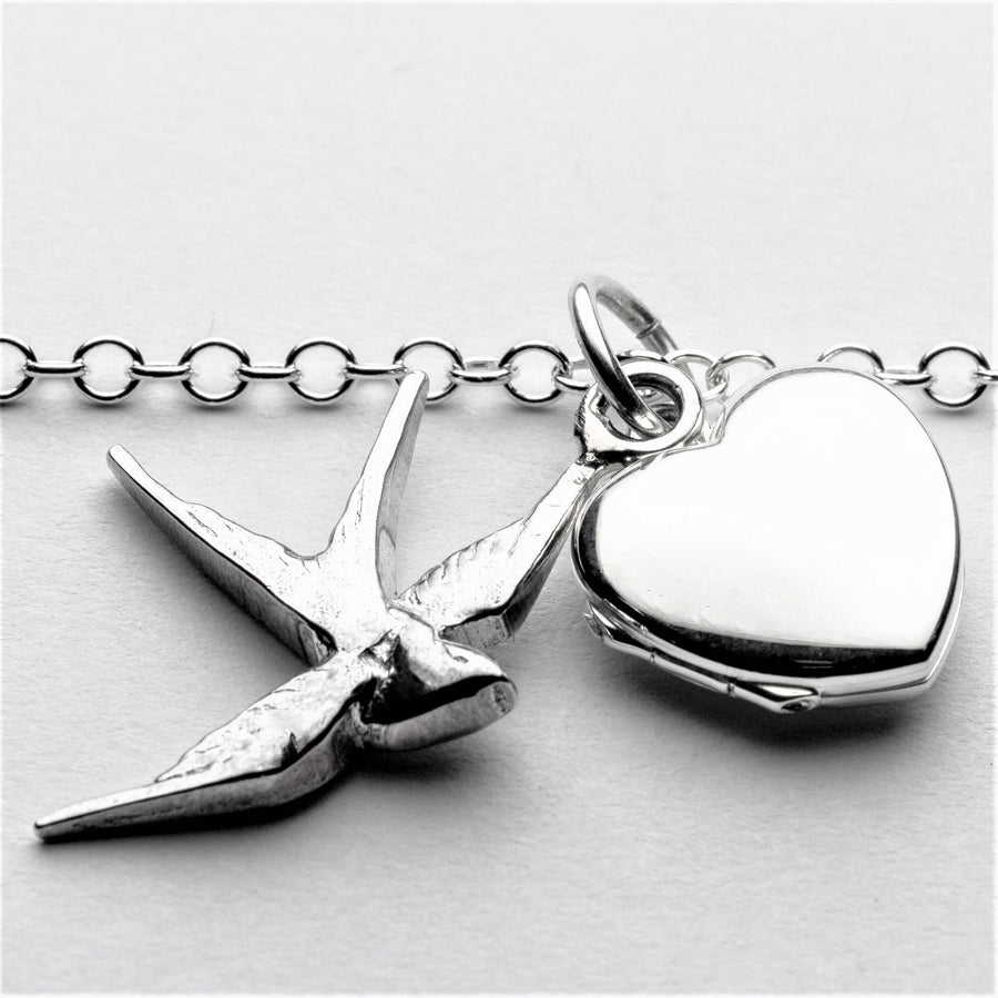 JRSW 09 Single Swallow & Heart Locket Necklace