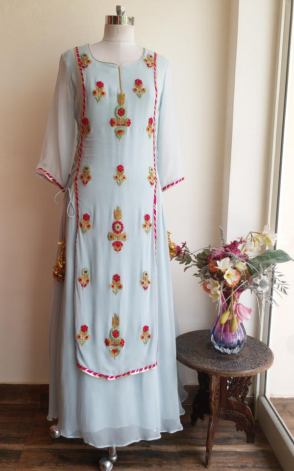 Powder Blue Embroidered Dress