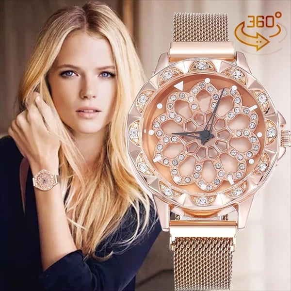 ROSE GOLD Luxury Cherry Blossom Rotating Watch