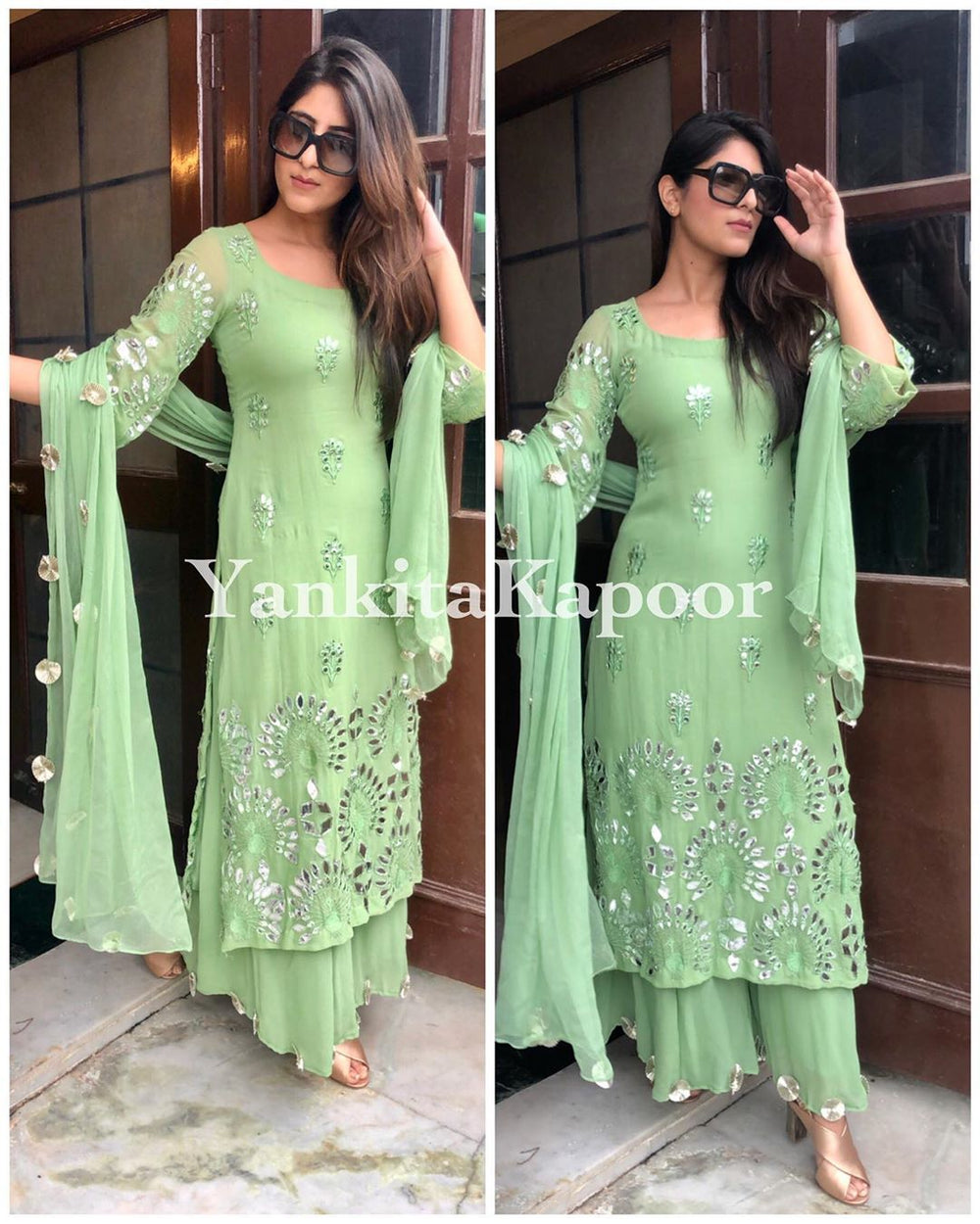 Yankita Kapoor Light Green Color Georgette Top With Palazzo