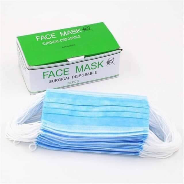 Green Three Ply 3 Ply Face Mask Pack Of 10 Pieces