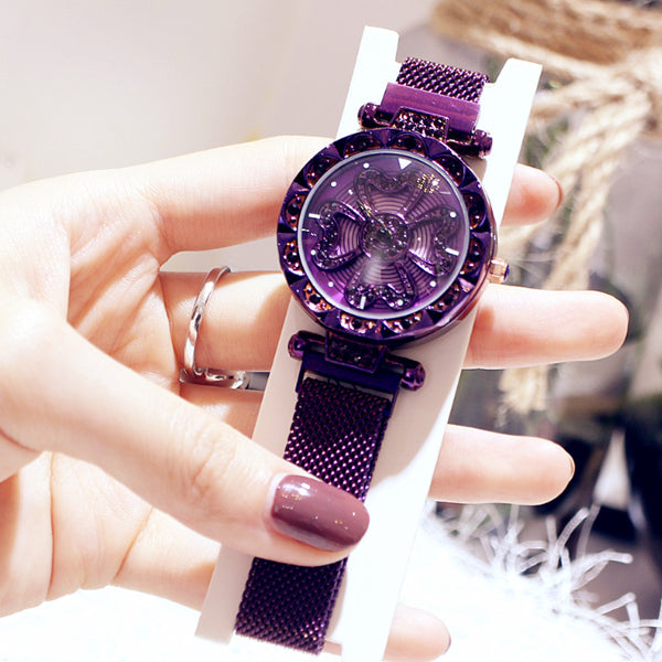 Purple Luxury Lucky Clover Rotating Watch