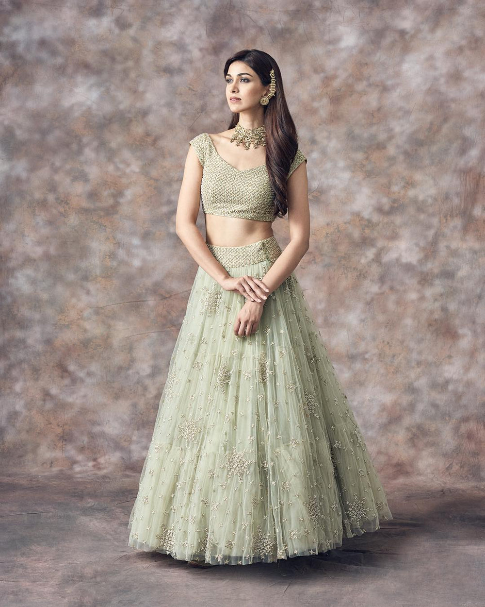 Light pista Nylon Net Embroidered Lehenga Choli